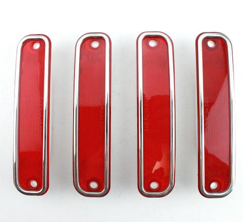 73-80 Chevy Truck Stepside or Dually RED Side Marker Light Lenses & Trim Set
