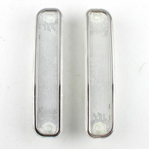 73-80 Chevy Truck Blazer Suburban CLEAR Side Fender Marker Light Lenses & Trim