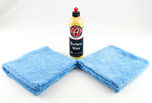Adam's Polishes Auto Truck Buttery Wax 16oz & 2- Blue 16x16 Microfiber Towels