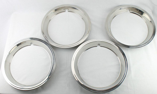 67 68 69 Camaro Chevelle Nova 14x6 Polished Rally Wheel Trim Rings Correct Clips Set of 4
