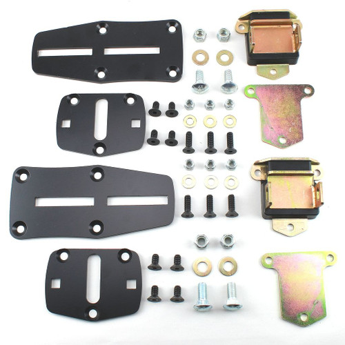 55-72 Chevy LS Engine Slider Adapter Brackets & Poly Mounts with High Mount AC