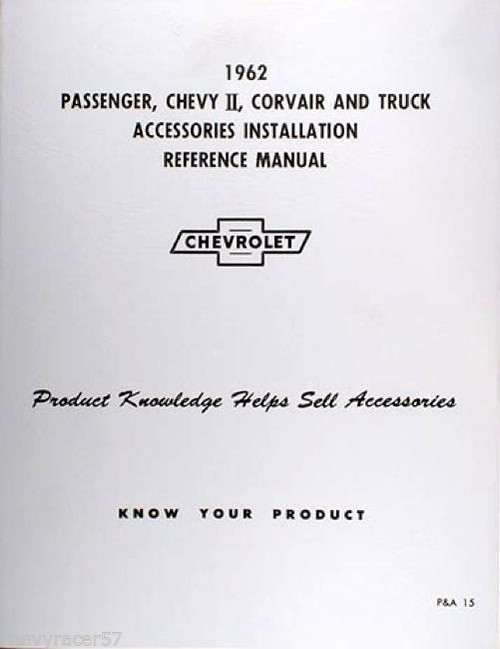 62 Chevy Impala Nova Corvair Truck Accessory Installation Manual New