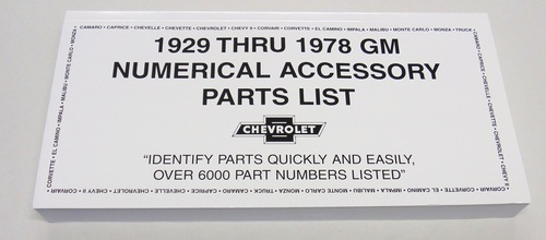 1929 - 1978 Chevy Chevrolet GM Original Accessory NOS Part Number Manual