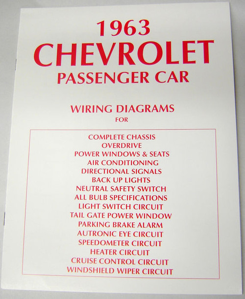 63 Chevy Impala Electrical Wiring Diagram Manual 1963 - I ...