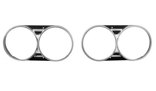 66 1966 Chevelle El Camino Aluminum Headlight Trim Bezels