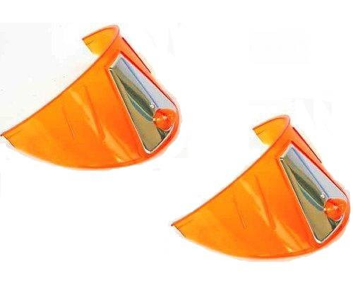 "7/"" Headlight Headlamp Light Bulb Chrome Trim Cover Shield Visors Pair New"