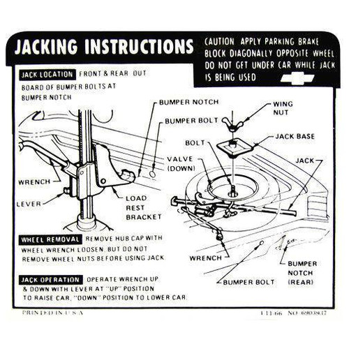 67 Chevy Chevelle Spare Tire & Jacking Instructions Decal