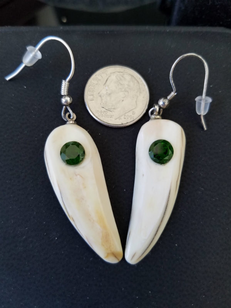 Gorgeous Alaskan Native crafted ivory with sparkling round-cut natural green Chrome Diopside gems to make a stunning earring set