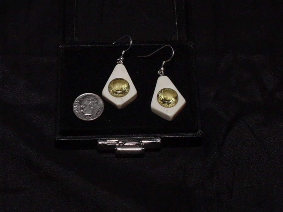 Earring Set - Large Bold Yellow Round Quartz Gem Pair 11.02ct