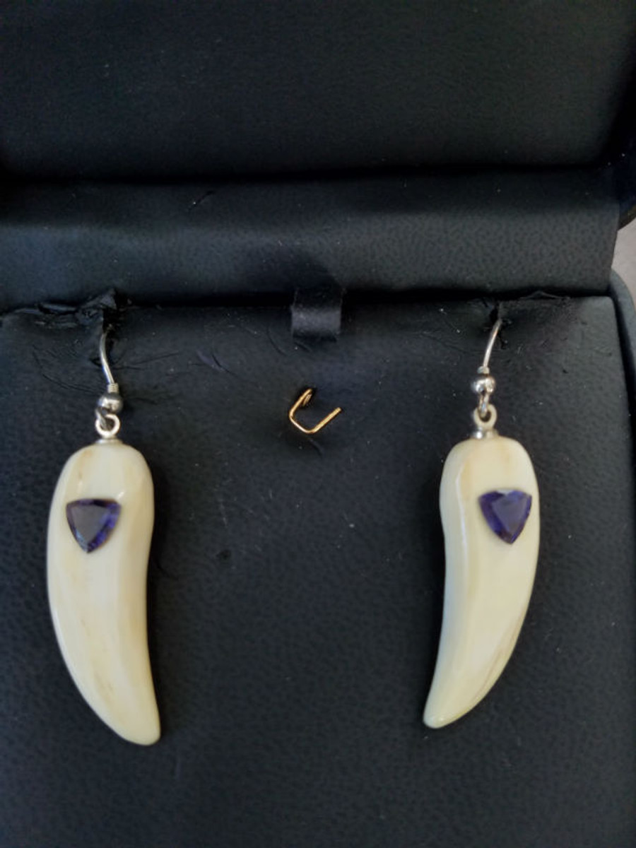 Vibrant Earring Set - Alaskan Native crafted ivory with trillion-shaped natural Iolite as the perfect center stones highlighting this earring set