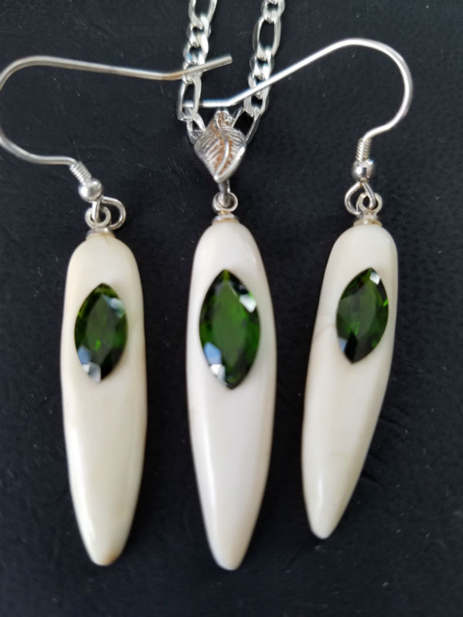 Alaskan Native crafted ivory and natural green chrome diopside earring & pendant matching set