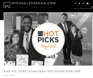 MICHAEL STRAHAN HOLIDAY HOT PICKS TORY'S LIST DECEMBER 2018