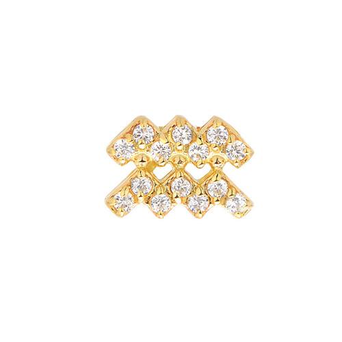 Gold Birthstone Gemstone Accented Zodiac Single Earring (Style#10801-10812)