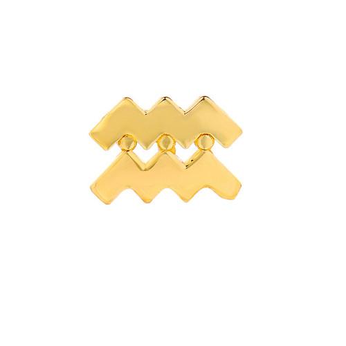 Gold High Polish Trendy Zodiac Single Post Earring (Style#10813-10824)