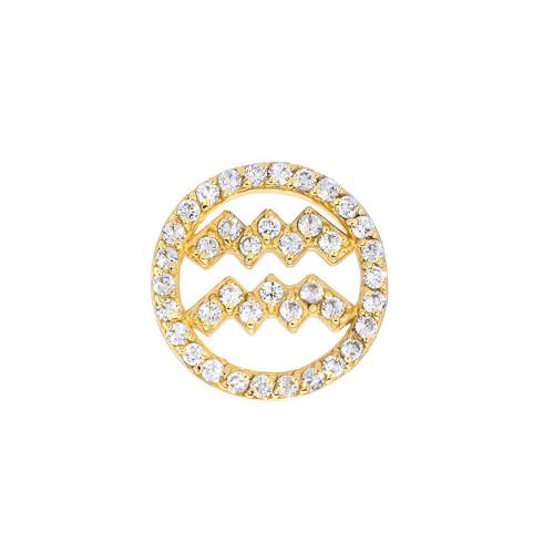 Gold Diamond Studded Zodiac Dazzling Halo Single Earring (Style#10825-10836)