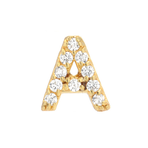 Gold Brilliant Diamond Accented Initial Post Single Earring (Style#10863-10888)