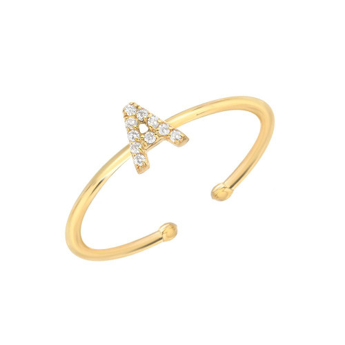 Gold Brilliant Diamond Accented Initial Adjustable Ring (Style#10863-10888)