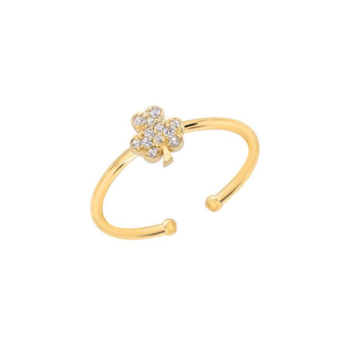 Brilliant Diamond Cluster Lucky Clover Shamrock Adjustable Ring (Style#10913)