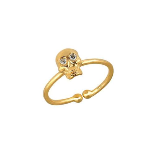 Stunning Diamond Set Eye-catching Skull Design Adjustable Ring (Style#10917)