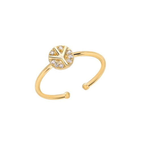 Diamond Cluster Accents Peace Sign Trendy Design Adjustable Ring (Style#10921)