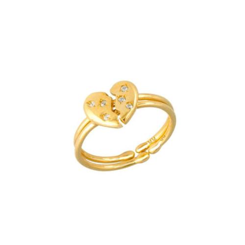Brilliant Diamond Set Best Friends Half Heart Adjustable Rings (Style#10922)