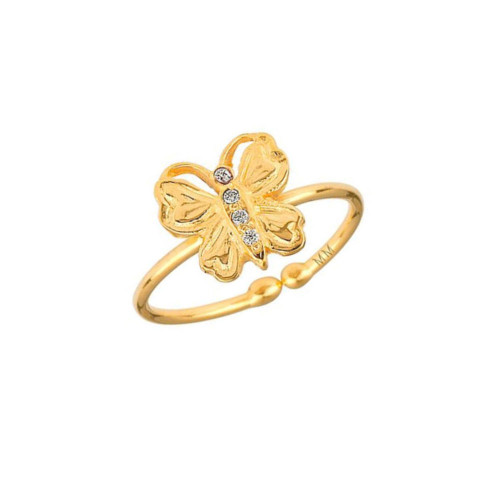 Dazzling Diamond Set Cute Butterfly Trendy Adjustable Ring (Style#10923)