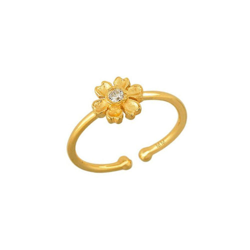 Beautiful Diamond Accented Cute Flower Adjustable Ring (Style#10925)