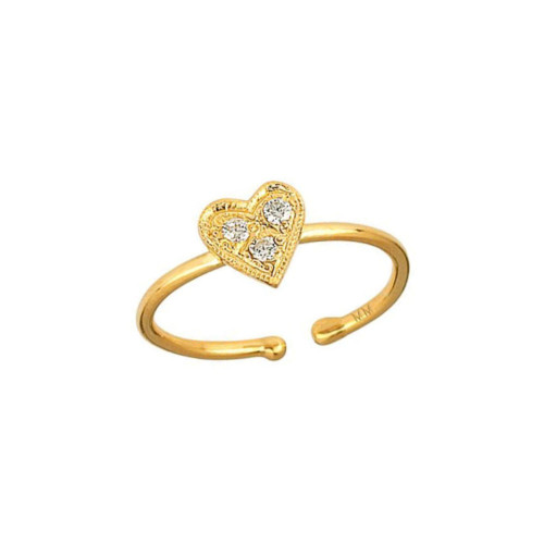 Three Gorgeous Diamond Accented Heart Love Adjustable Ring (Style#10926)