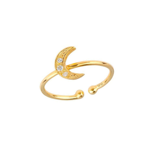 Breathtaking Diamond Accented Cute Crescent Moon Adjustable Ring (Style#10927)