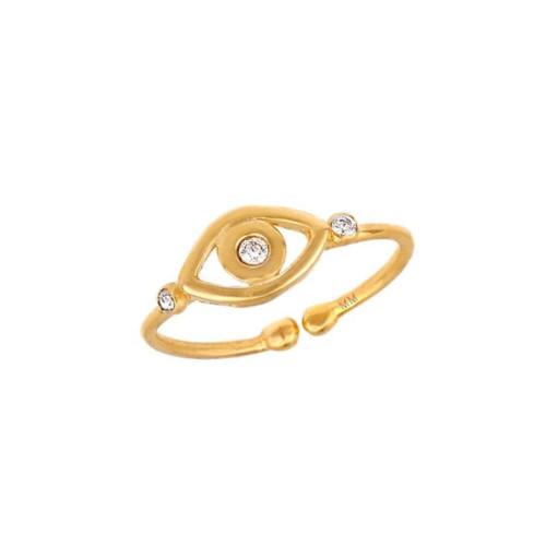 Three Brilliant Diamond Set Evil Eye Protection Adjustable Ring (Style#10986)