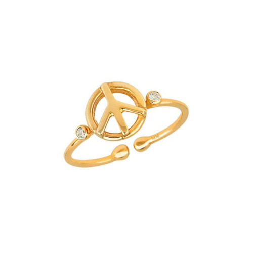 Diamond Accented Peace Sign Trendy Design Adjustable Ring (Style#10987)
