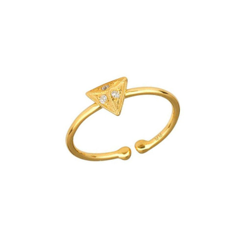 Shimmering Diamond Accented Cute Pyramid Adjustable Ring (Style#10990)
