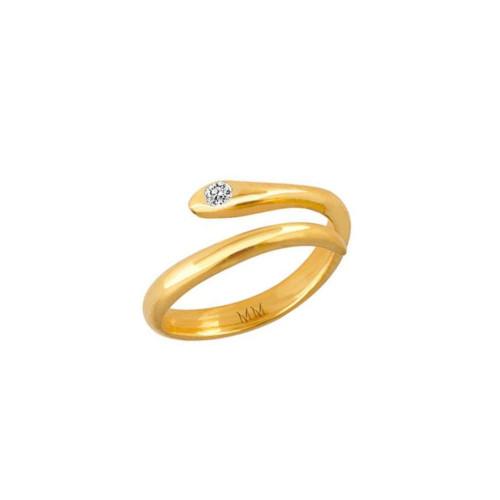 Diamond Accented Eye-catching Snake Wrap Around Adjustable Ring (Style#10991)