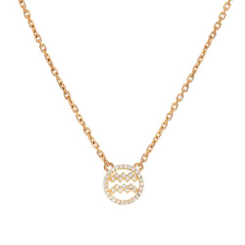 Gold Diamond Studded Zodiac Dazzling Halo Necklace (Style#10825-10836)
