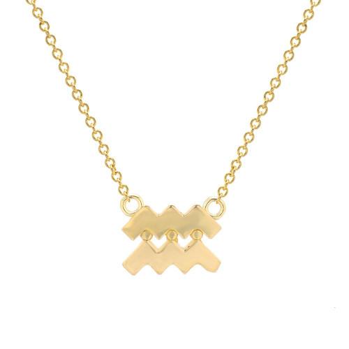 Gold High Polish Trendy Zodiac Necklace (Style#10813-10824)