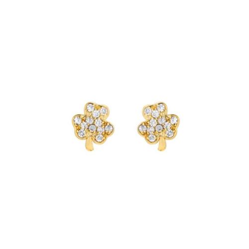 14k Gold Diamond Cluster Clover Earrings (Style#10913)