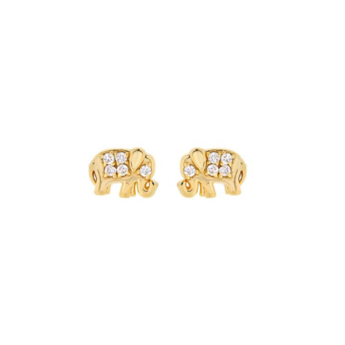 14k Gold Diamond Accented Elephant Trendy Earrings (Style#10914)