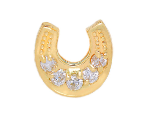 Diamond Cluster Accented Lucky Horseshoe Single Earring (Style#10915)