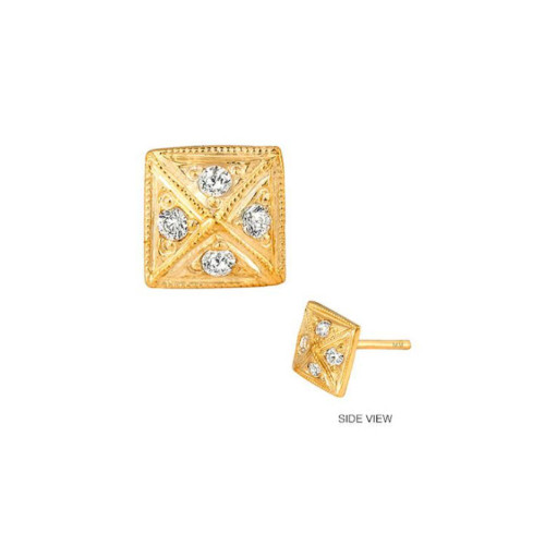 14k Gold Diamond Accented Pyramid Earring (Style#10916)