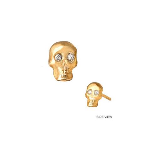 14k Gold Diamond Accented Skull Earring (Style#10917)