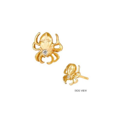 14k Gold Diamond Studded Spider Earring (Style#10918)
