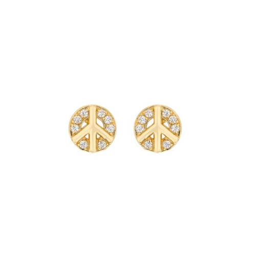 14k Gold Diamond Cluster Accented Peace Sign Earrings (Style#10921)