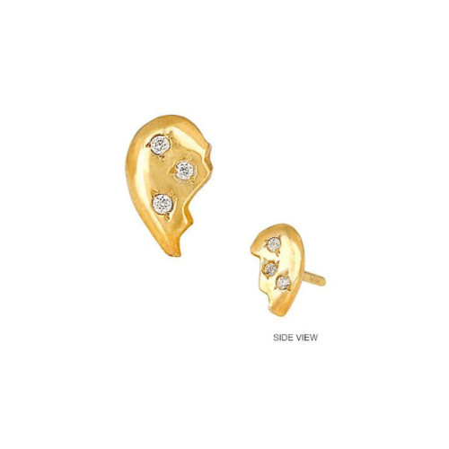 14k Gold Diamond Accented Half Heart Trendy Design Earring (Style#10922)
