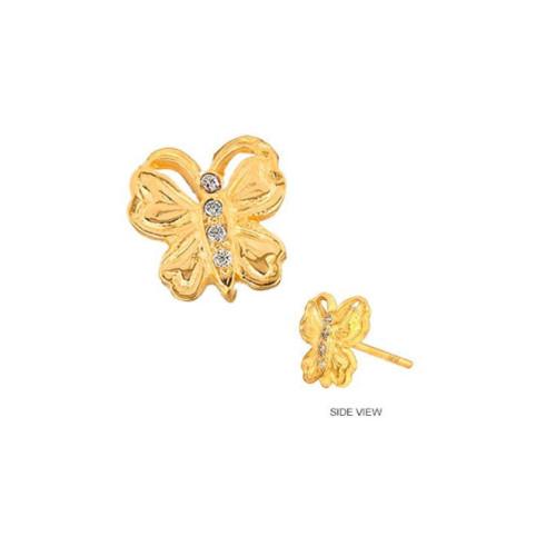 14k Gold Diamond Set Butterfly Trendy Earring (Style#10923)
