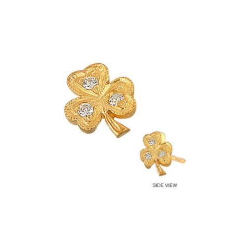 14k Gold Diamond Accented Lucky Clover Shamrock Earring (Style#10924)