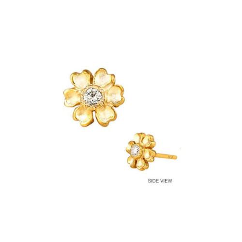 14k Gold Diamond Accented Flower Earrings (Style#10925)