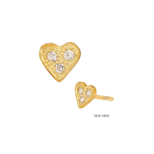 14k Three Diamond Heart Earring (Style#10926)