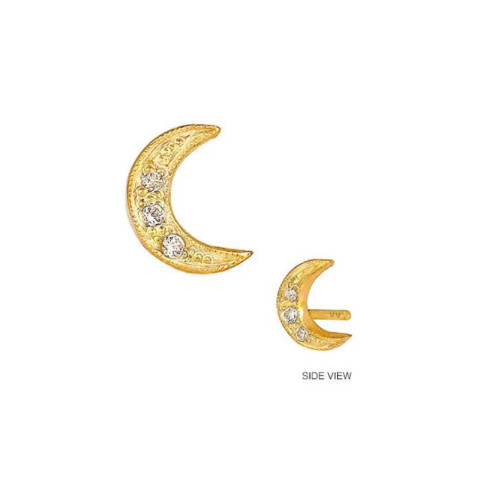 14k Diamond Accented Crescent Moon Earring (Style#10927)