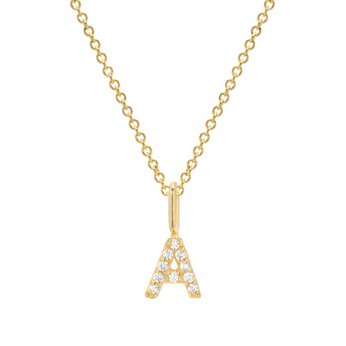 Gold Brilliant Diamond Accented Initial Stunning Pendant - Chain not included (Style#10863-10888)
