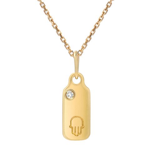 Gold Diamond Accented Dog-Tag Symbol Pendant (Style#10901-10912)